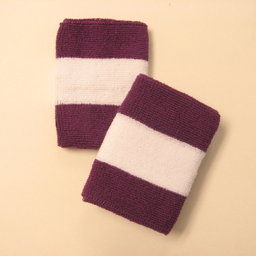 Purple white purple 2colored sports sweat wristbands wholesale