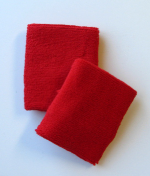 Red Men's 4IN Wrist Sweatband (Sport Wristband) Wholesale 6PAIRS
