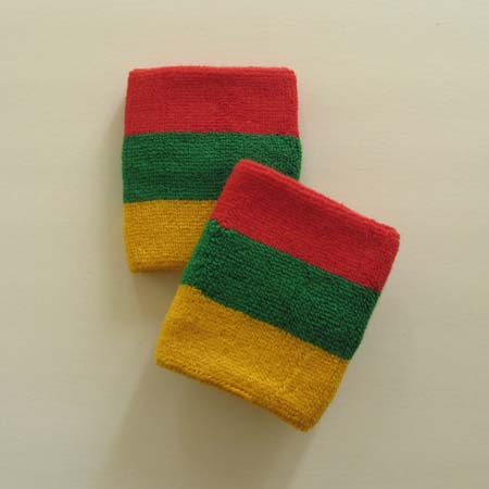 Red green yellow rasta color athletic terry sweat wristbands