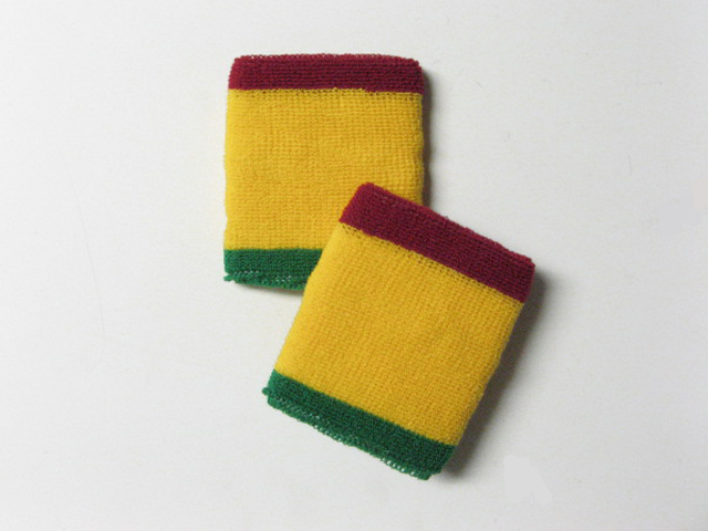 Rasta Color Red Yellow Green sweat Wrist Bands Wholesale [6pair]