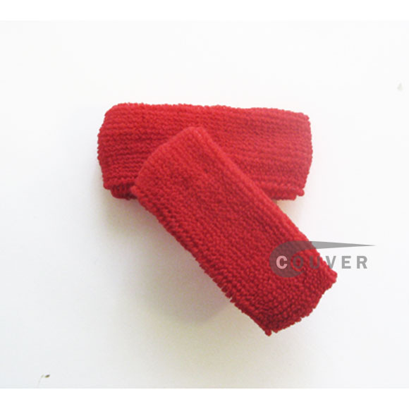 Red 1inch thin cotton terry wrist sweatbands [3pairs]