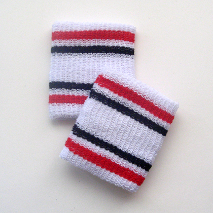 Red and black stripes in white cheap wristbands wholesale