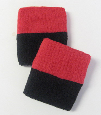 Wholesale Red Black 2 color Sports Athletic Wristbands [6 pairs]