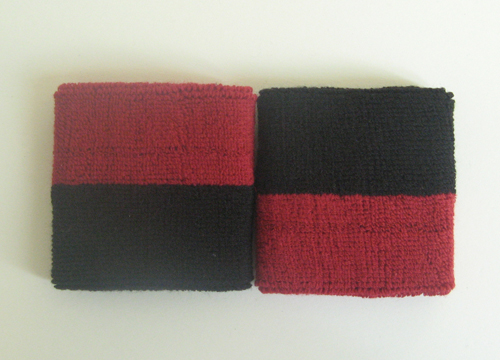 Red black 2colored youth sport sweat wristbands wholesale
