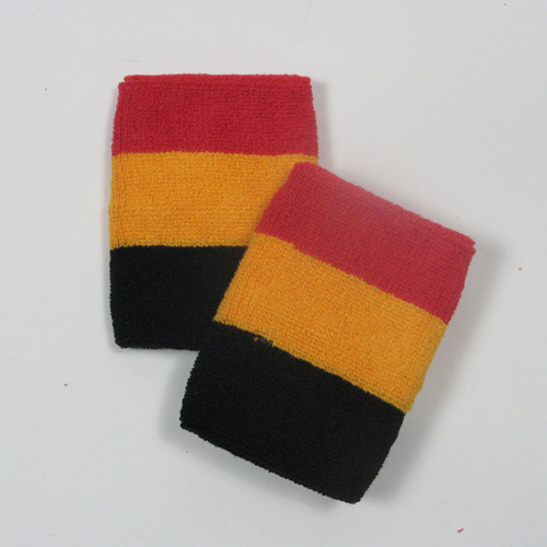 Red golden yellow black striped sweatbands for wrist