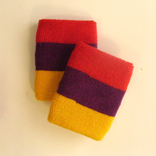 Golden yellow purple red 3color striped wrist sweatband [6pairs]