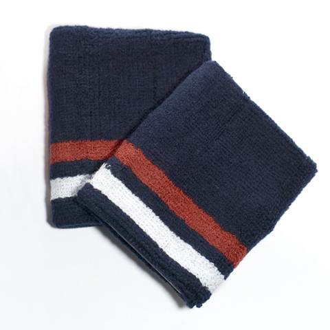 Red White Bottom Striped Quality Navy Wristbands [6 pairs]