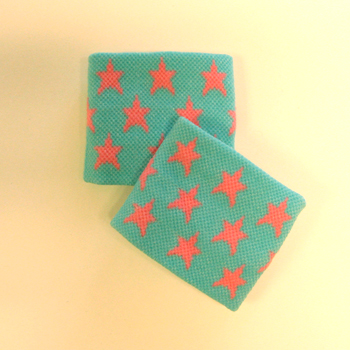 Pink stars in sky blue cute girls wrist bands