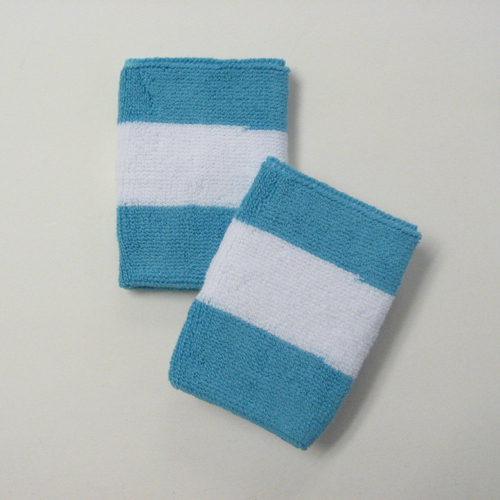 Sky blue white skyblue 2colored sports sweat wristbands wholesal