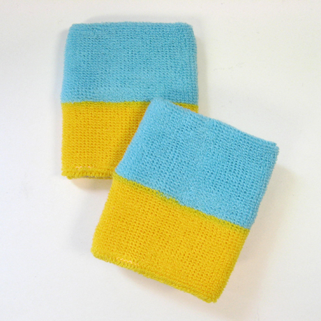 Wholesale Skyblue Yellow 2 color Sports Wristbands [6 pairs]
