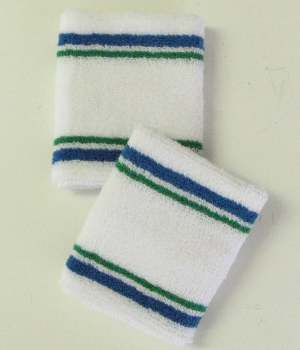 Wholesale White Tennis Sweat Wristband w Blue Green 4Line 6Pairs