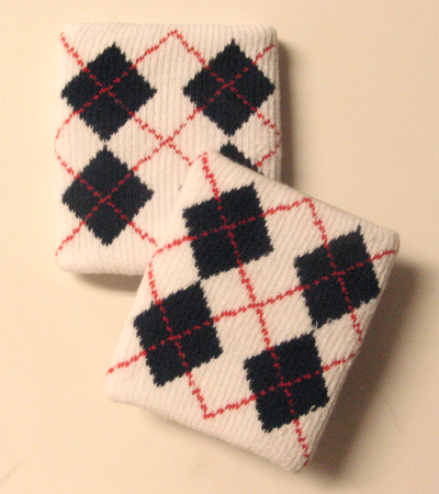 Urban Skater Style Argyle White Navy Wrist band Wholesale 3pair