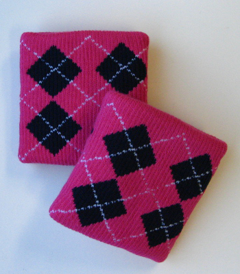 Urban Style Skaters Wrist Bands Argyle Hot Pink Navy [3pairs]