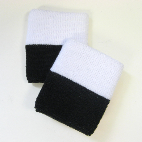 Wholesale Black White 2-colored Sports Wristbands [6 pairs]
