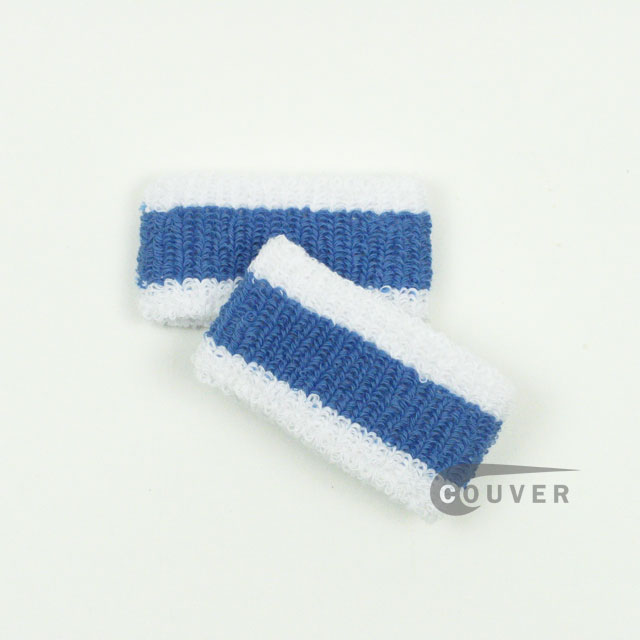 White Cerulean Blue White Kids Cheap 1inch Wristband 6PAIRS