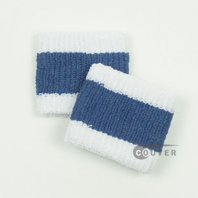 White Cerulean Blue White Cheap 2.5in Wristband 6PAIRS