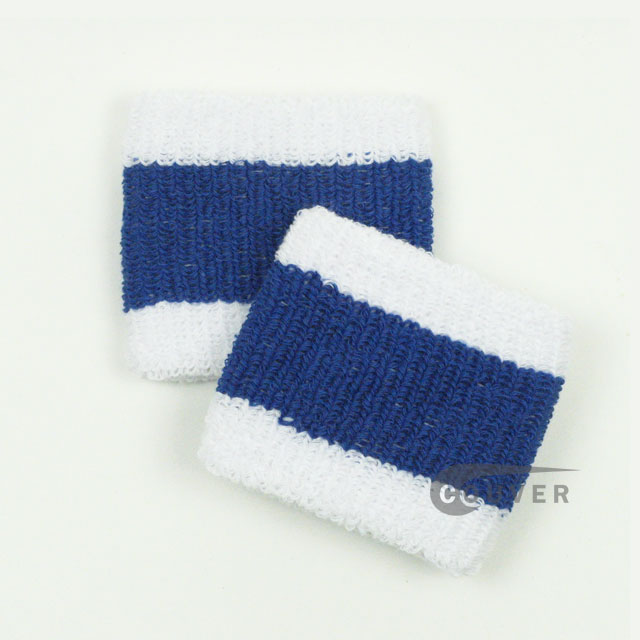 "Blue & White Striped Cheap 2.5"" COUVER Wristbands Wholesale 6PRs"