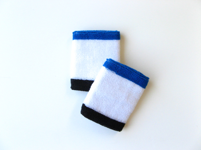 White w/ Blue and Black trim athletic sweat Wristband [6pairs]