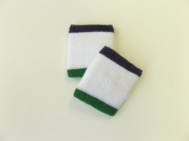 Wholesale White w Purple and Green trim sweat wrist bands 6pair