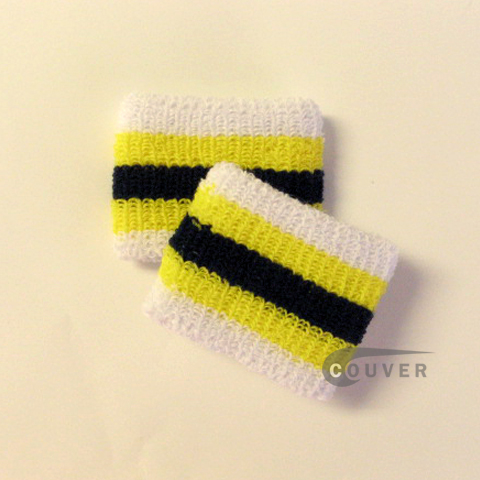 Yellow Navy White 2.5IN Striped Cheap Wristbands Wholesale COUVER 6PRs