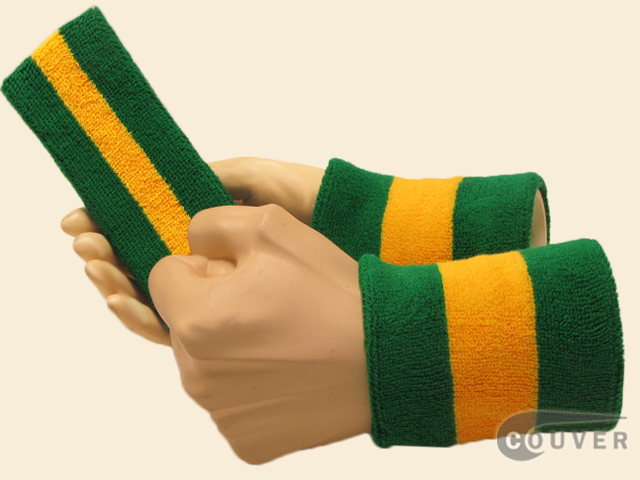 Green Yellow Green 2color striped sweatbands set