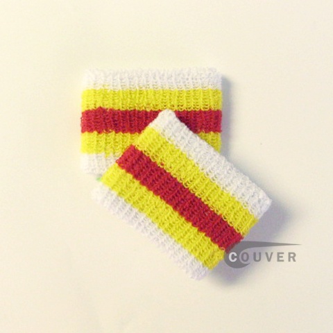 "Yellow Red White 2.5"" Stripe Cheap Wristband Wholesale from COUVER 6PRs"