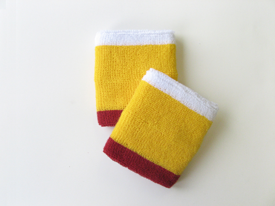 Yellow with Red & White trim athletic sweat wrist band [6pairs]
