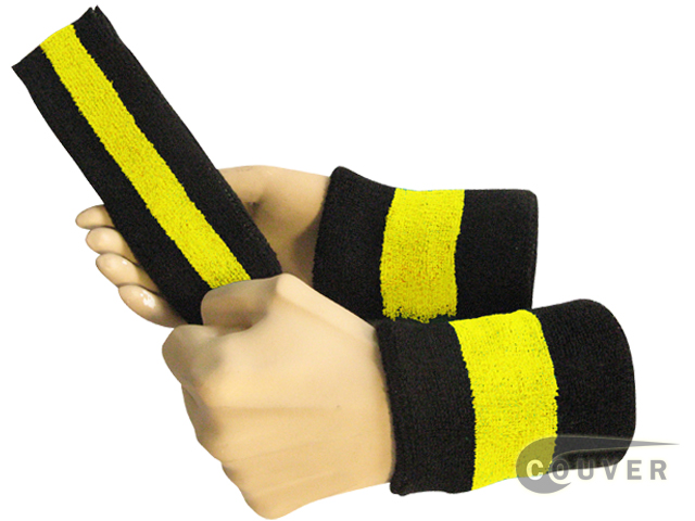 Black bright yellow black 2color striped sweatbands set