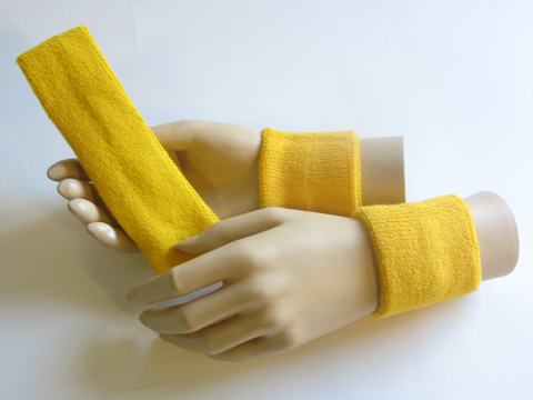 Regular yellow headband yellow sweat wristbands set [3sets]